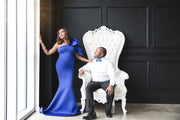 Royal Blue Maternity Gown for Baby Shower and Photoshoot - Tulip One Sleeve Maternity Dress