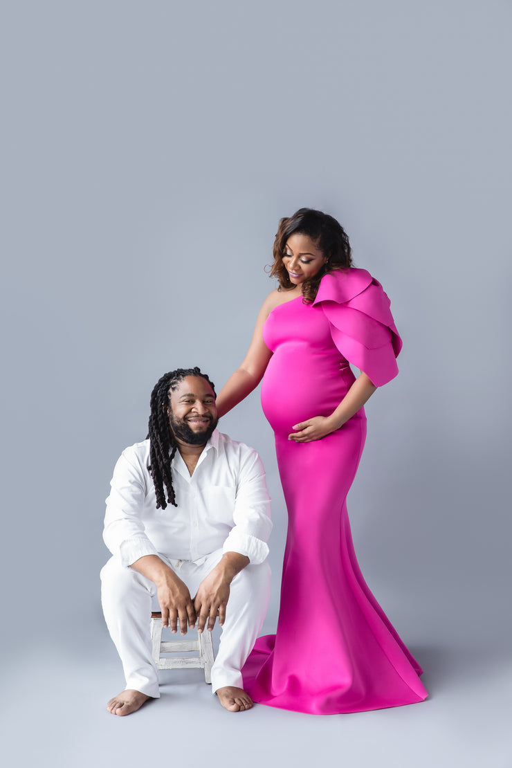 Fuchsia Pink Maternity Gown for Photo Shoot and Baby Showers - Tulip Maternity Dress