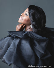 Black Engagement Dress with ruffle cape perfect for photo shoots