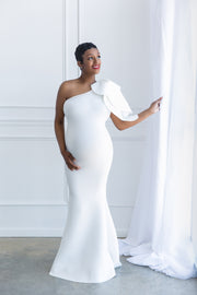 Pure White Maternity Gown for Photo Shoot and Baby Showers - One Sleeve Maternity Dress