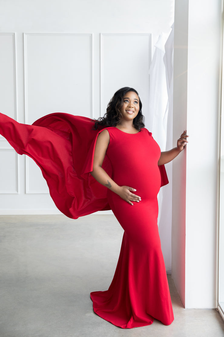 Red Maternity Gown for Photo Shoot and Baby Showers - Flowy Cape Maternity Dress