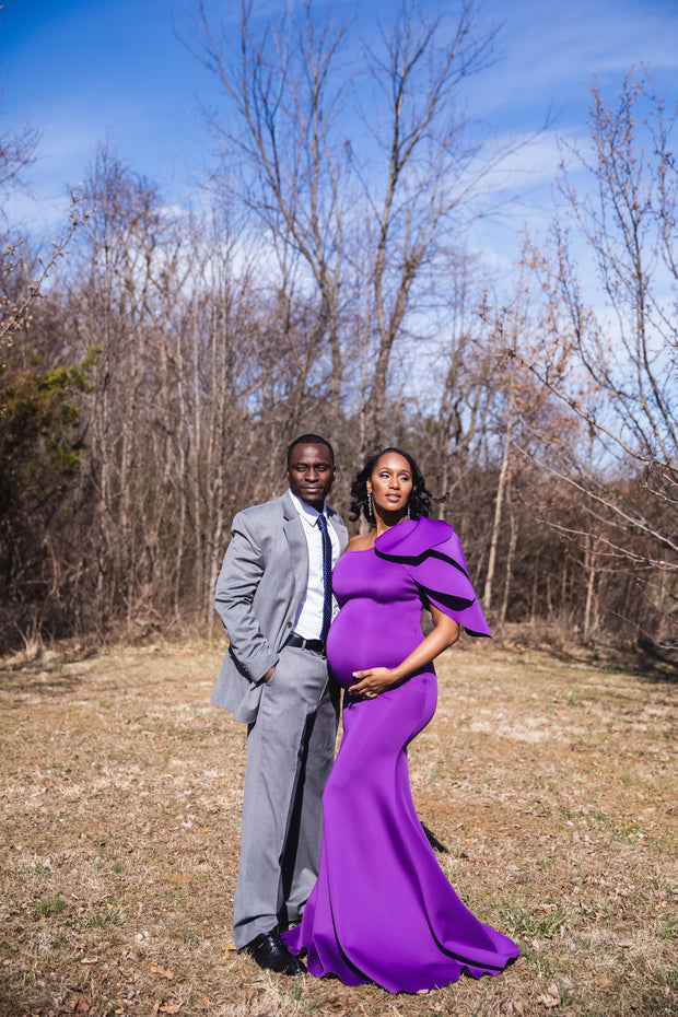 Purple Tulip Maternity Gown for Photo Shoot and Baby Showers - One Sleeve Maternity Dress