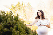 Pure White Orchid Maternity Gown for Photo Shoots White Maternity Dress