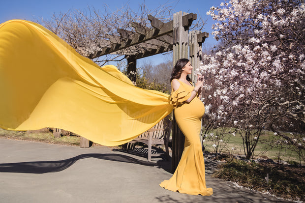 Mustard Yellow Maternity Gown for Photo Shoot and Baby Showers -Sunflower Maternity Dress
