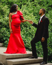 Red Maternity Gown for Photo Shoot and Baby Showers - Tulip One Sleeve Maternity Dress