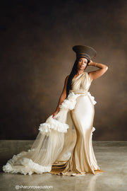 Oscar Champagne Gold Satin Engagement Gown with Victorious Cape Perfect for Photo Shoots