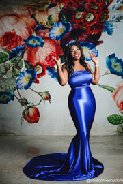 Oscar Royal Blue Satin Engagement Gown Perfect for Photo Shoots