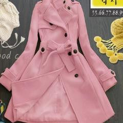 Colorful Stand Collar Belted Long Trench Coat