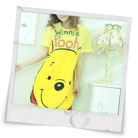 Lovely Style Cartoon Decorate Sleepwear Yellow