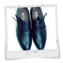 Sideway Laces Leather Men's Shoes Black