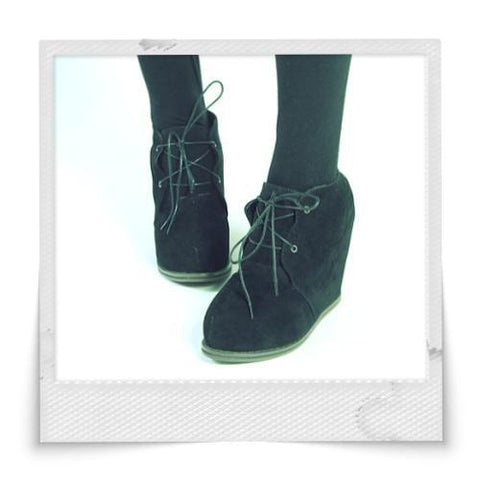Retro Drawstring Wedge Ankle Boots