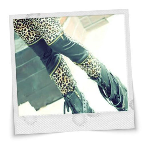 New Style Splicing Zipper Embellished Leggings Leopard