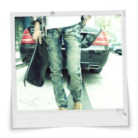 Trendy Men's Slim Bleach Washing Jeans