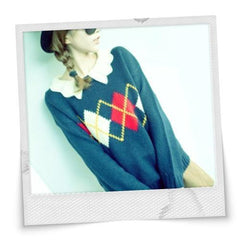 All Match Rhombus Collar Sweater