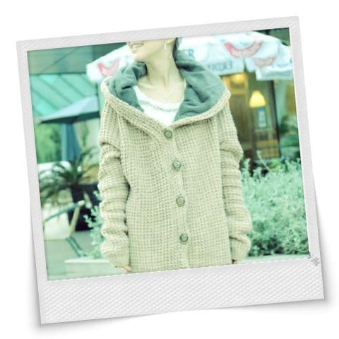 Hot Fashion Design Single Breasted Long Sleeve Hooded Sweater