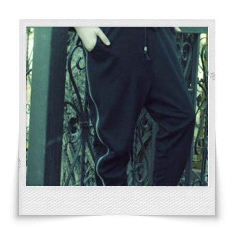 Special Design Double Zipper Pants Black