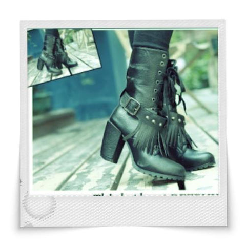Vogue Tassel Embellished Brogue Drawstring Boots