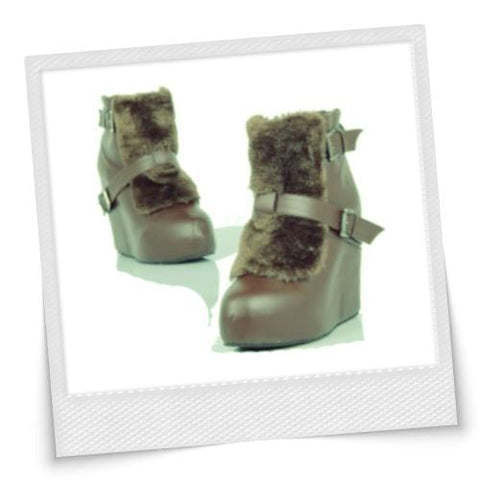 Western Style Retro Fuzzy Wedge Boots