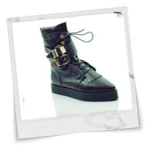 Western Style Luxury Buckle Drawstring Boots