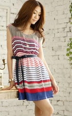 Colorful Stripe Sleeveless Dress with Belt