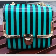 Colorfully Cute Stripe Chain Square Clutch