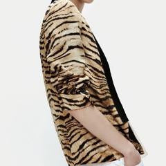 Tiger Print European Collar Jacket