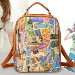 Retro Stamp Design Printed Backpack