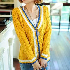 V-neck Twist Needle Stripe Cardigan