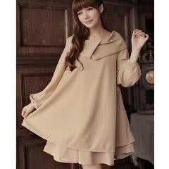 Lux Double-Turn-down Collar Long Sleeves Dress