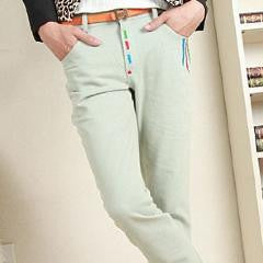 Colorful Embroidered Pure Color Pants