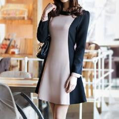 Round Collar Color Block Belted Dress