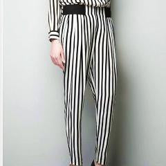 Stylish Black & White Stripe Pants