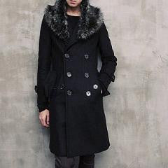 Unisex Detachable Fur Collar Double-breasted Coat Black
