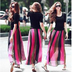 Top Stripe Pleated Chiffon Long Skirt Rose