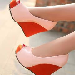 Colorful Peep-Toe Wedges