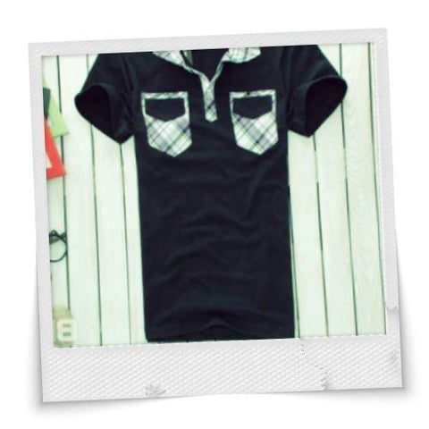 Two-pockets Front Lapel T-shirt
