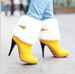 Yellow Fur Buckle Warm Boots
