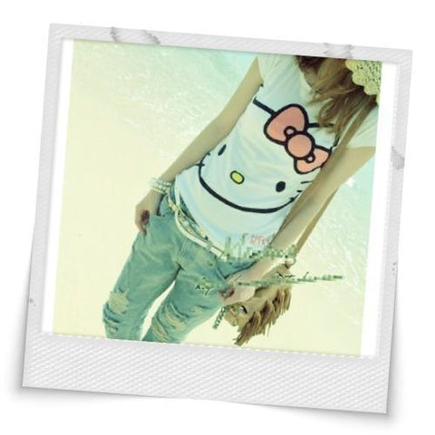 Hello Kitty Face Printed Short Sleeve T-shirt