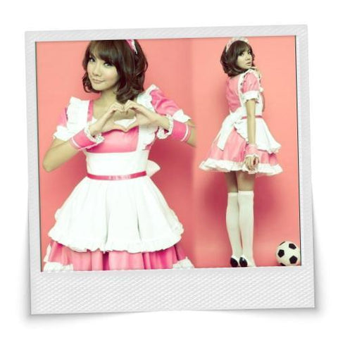 Sexy Square Collar Maidservant Suit Pink