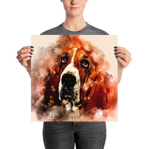 Image of Basset Hound Watercolor Poster - Doggsociety