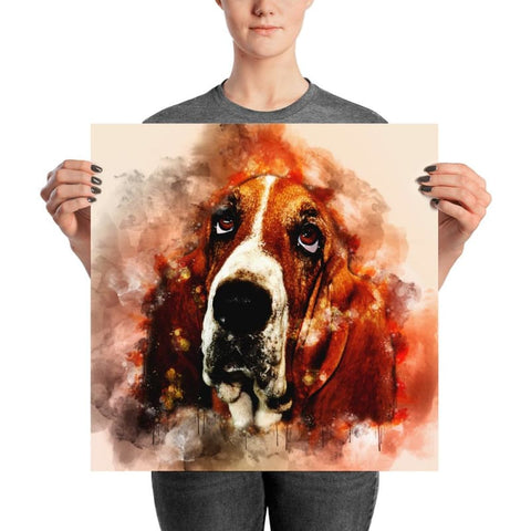 Basset Hound Watercolor Poster - Doggsociety