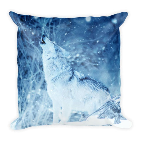 Howling Wolf In Blue 18x18 Pillow - Doggsociety