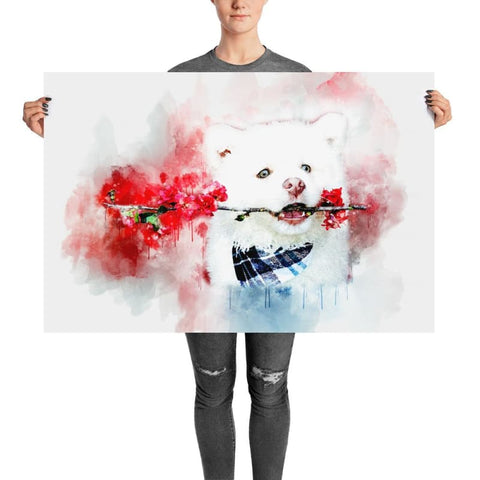 White Dog With Flowers Watercolor Poster - Doggsociety