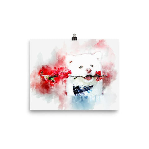 Image of White Dog With Flowers Watercolor Poster - Doggsociety