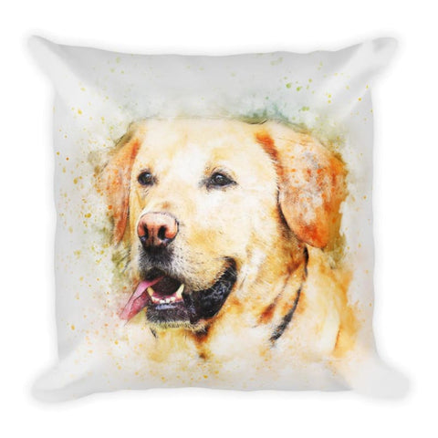 Image of Yellow Labrador Art 18x18 Pillow - Doggsociety