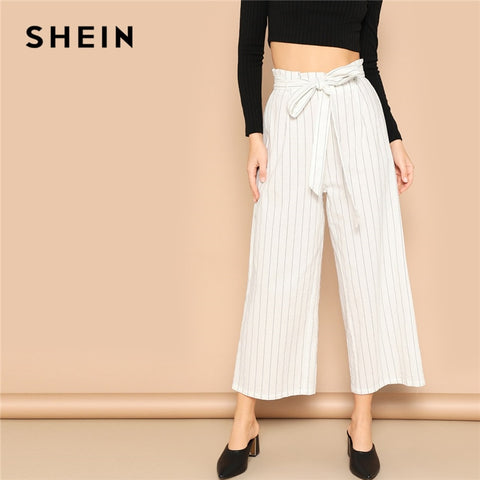 a1991230e8b1 SHEIN White Paperbag Waist Striped Wide Leg Pants Women Belted Crop Trousers  Office Lady 2019 Spring