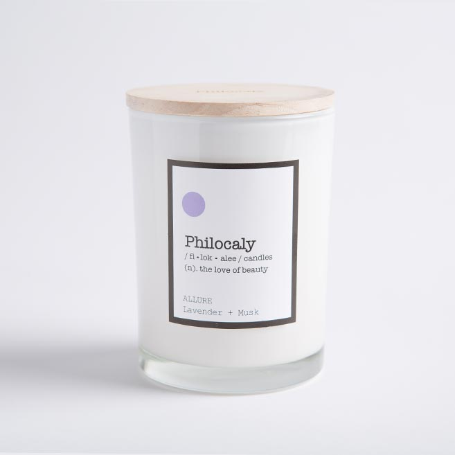 Philocaly Home, Inc Scented Jar Candle – Soy Wax, Recycled Glass – Clean Burn, Long Scent, 9.5oz - Lavender + Musk