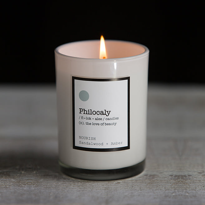 Philocaly Home, Inc Scented Jar Candle – Soy Wax, Recycled Glass – Clean Burn, Long Scent, 9.5oz - Nourish, Sandlewood + Amber
