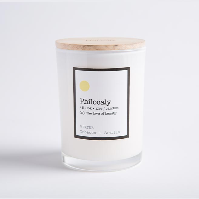 Philocaly Home, Inc Scented Jar Candle – Soy Wax, Recycled Glass – Clean Burn, Long Scent, 9.5oz - Virtue, Tobacco + Vanilla