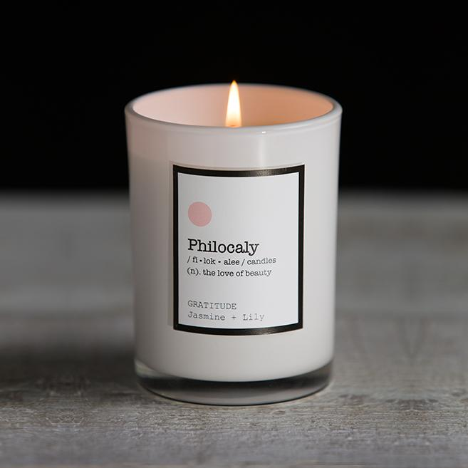 Philocaly Home, Inc Scented Jar Candle – Soy Wax, Recycled Glass – Clean Burn, Long Scent, 9.5oz - Jasmine + Lily